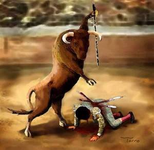 Qué valor y qué arte tiene el toro al enfrentarse a tal criatura humana